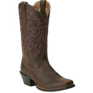 Ariat Square Toe Round Up Cowgirl Boot Pink Stitch